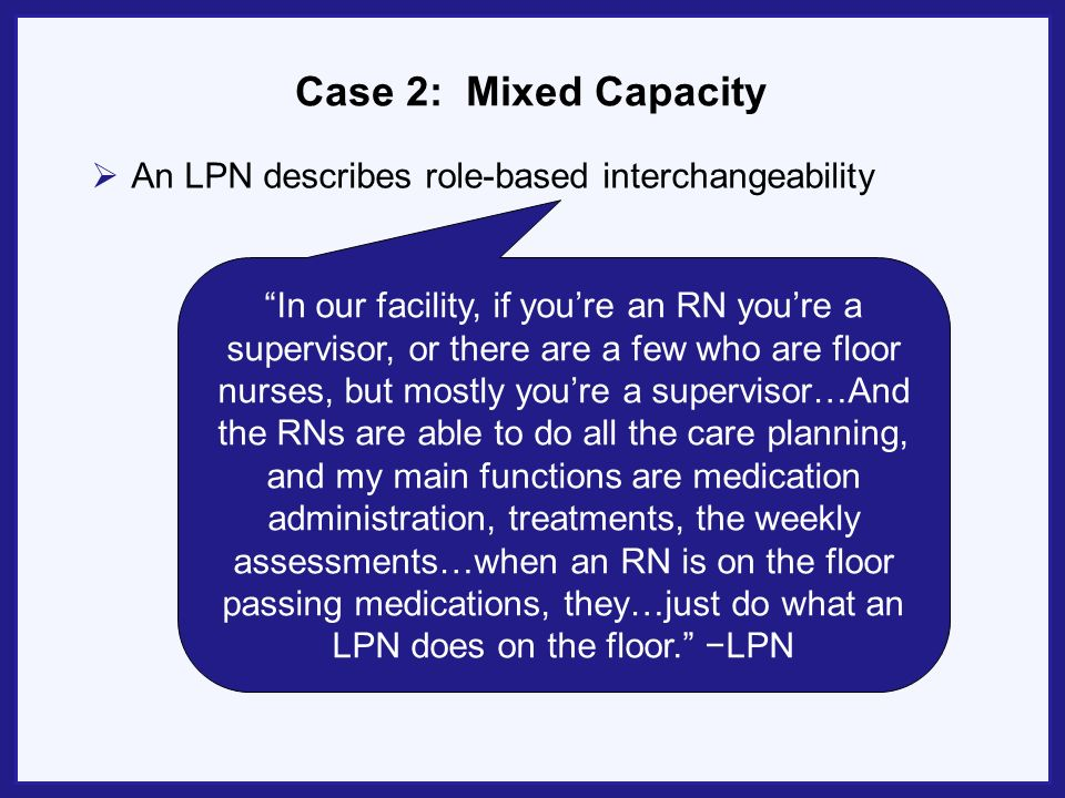 Case 2: Mixed Capacity An LPN describes role-based interchangeability In our facility, if youre an RN youre a supervisor, or there are a few who are f