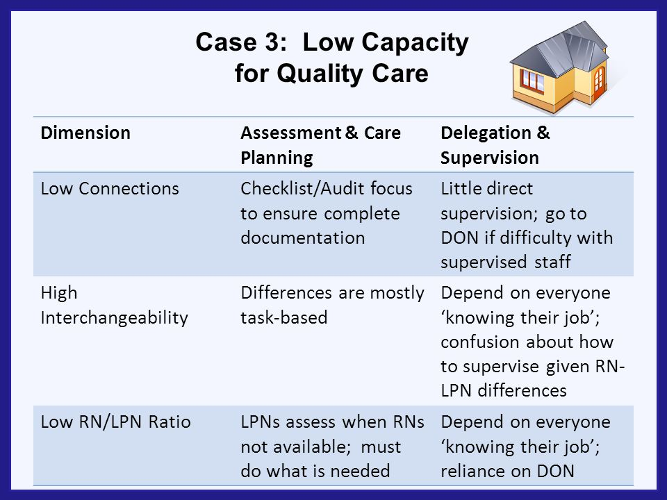 Case 3: Low Capacity for Quality Care DimensionAssessment & Care Planning Delegation & Supervision Low ConnectionsChecklist/Audit focus to ensure comp