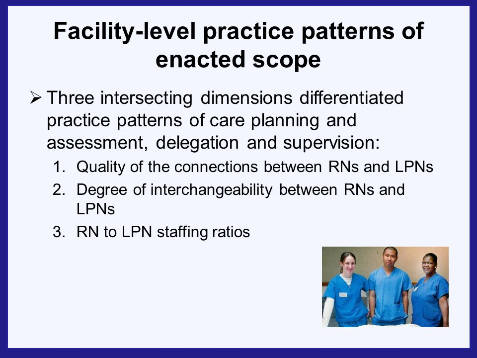 Facility-level practice patterns of enacted scope Three intersecting dimensions differentiated practice patterns of care planning and assessment, delegation and supervision: 1.Quality of the connections between RNs and LPNs 2.Degree of interchangeability between RNs and LPNs 3.RN to LPN staffing ratios