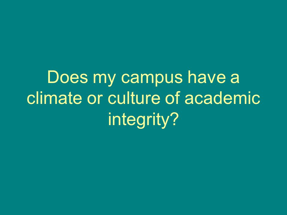 Does my campus have a climate or culture of academic integrity