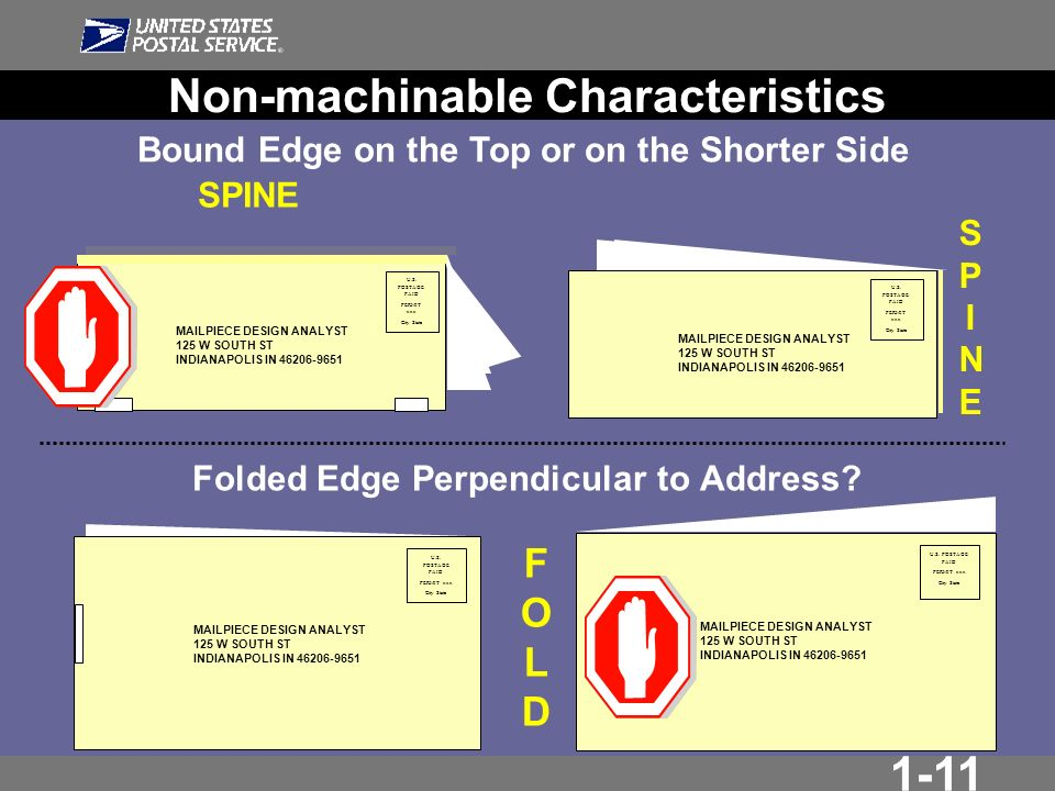 1-11 Folded Edge Perpendicular to Address.