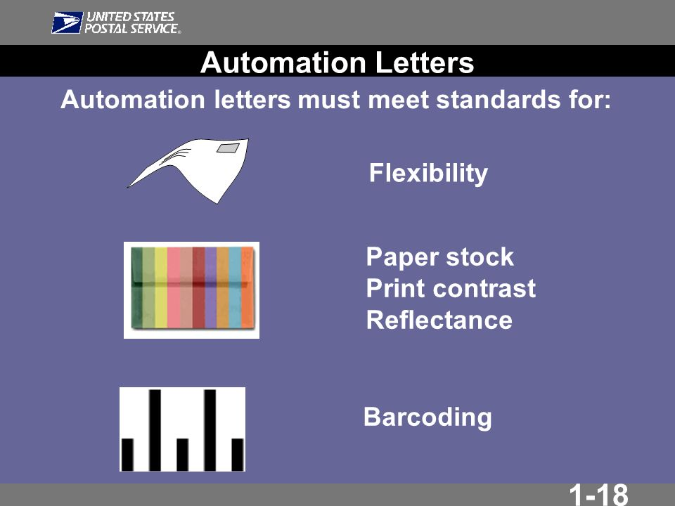 1-18 Flexibility Automation letters must meet standards for: Paper stock Print contrast Reflectance Barcoding Automation Letters