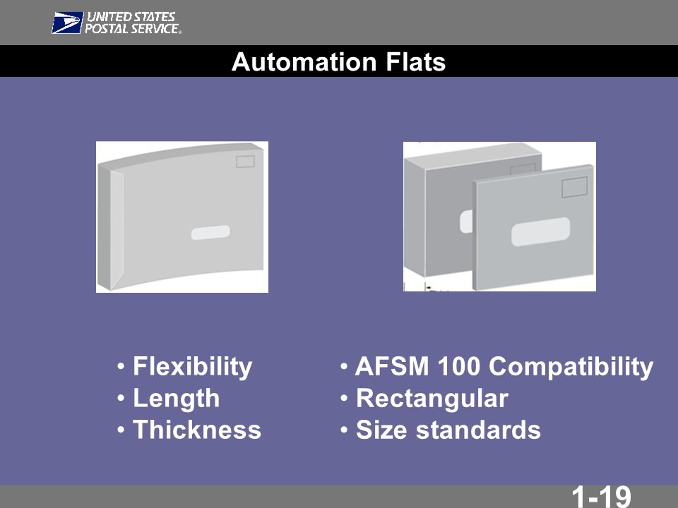 1-19 Automation Flats Flexibility Length Thickness AFSM 100 Compatibility Rectangular Size standards