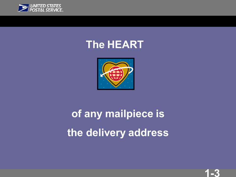1-3 The HEART of any mailpiece is the delivery address