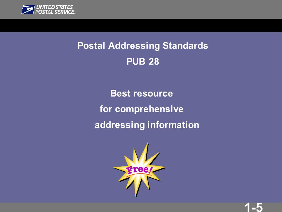 1-5 Postal Addressing Standards PUB 28 Best resource for comprehensive addressing information
