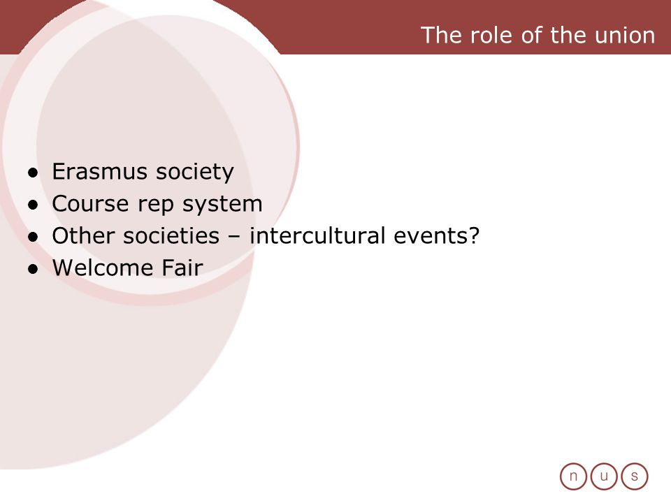 The role of the union Erasmus society Course rep system Other societies – intercultural events.