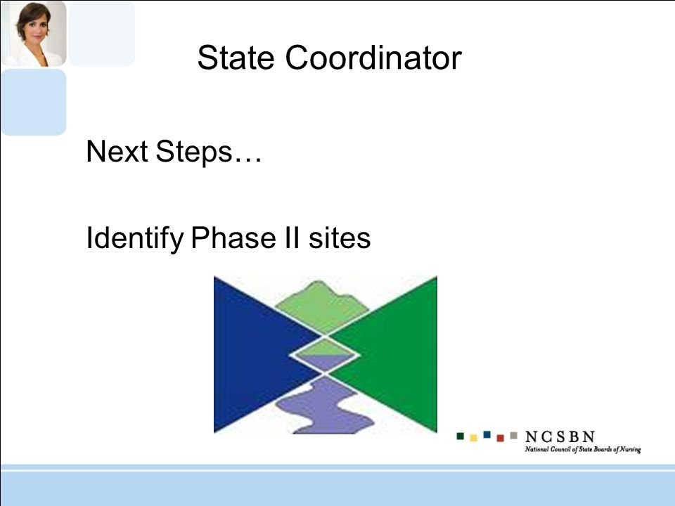 State Coordinator Next Steps… Identify Phase II sites