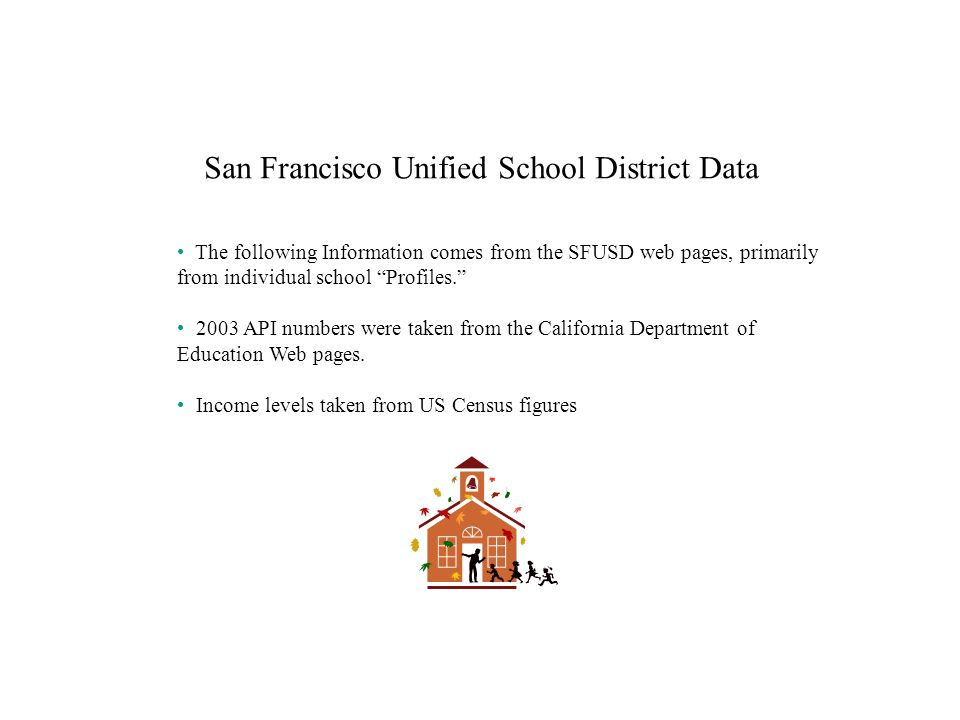 San Francisco Unified School District Data The following Information comes from the SFUSD web pages, primarily from individual school Profiles.