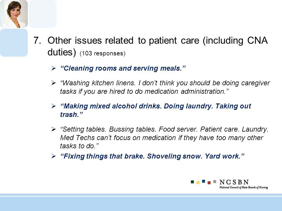 7.Other issues related to patient care (including CNA duties) (103 responses) Cleaning rooms and serving meals. Washing kitchen linens. I dont think y