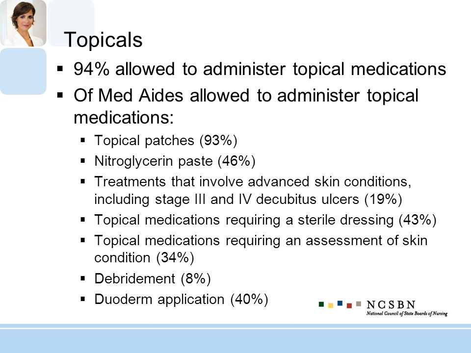 Topicals 94% allowed to administer topical medications Of Med Aides allowed to administer topical medications: Topical patches (93%) Nitroglycerin pas