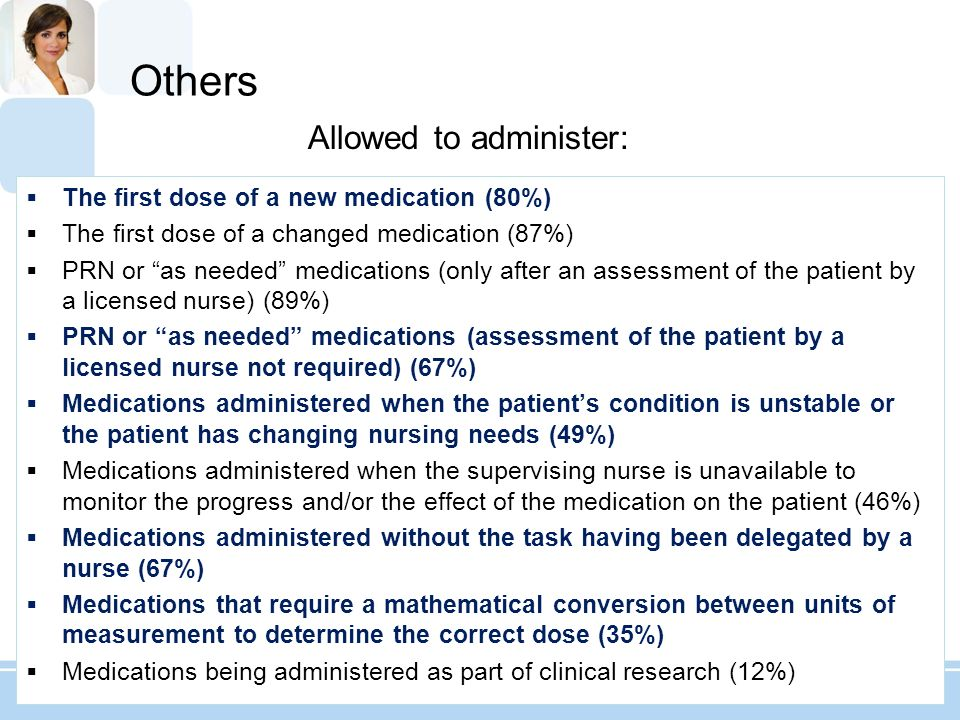 Others The first dose of a new medication (80%) The first dose of a changed medication (87%) PRN or as needed medications (only after an assessment of