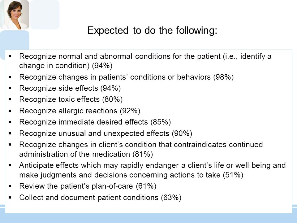 Recognize normal and abnormal conditions for the patient (i.e., identify a change in condition) (94%) Recognize changes in patients conditions or beha