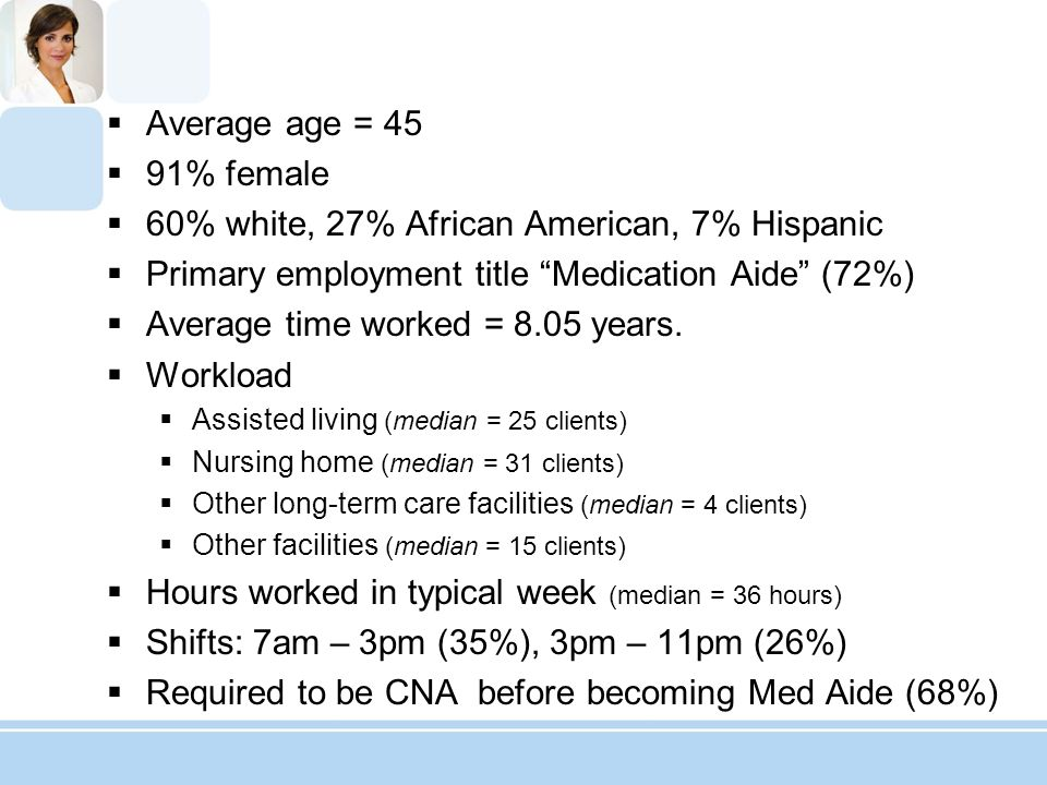 7.Other issues related to patient care (including CNA duties) (103 responses) Cleaning rooms and serving meals.