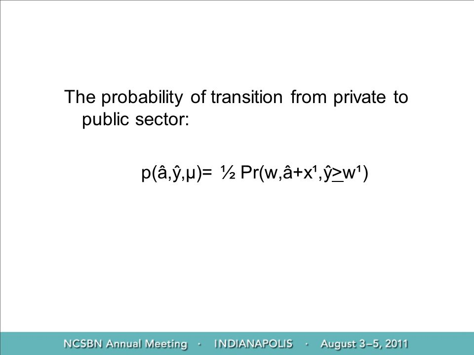 The probability of transition from private to public sector: p(â,ŷ,μ)= ½ Pr(w,â+x¹,ŷ>w¹)