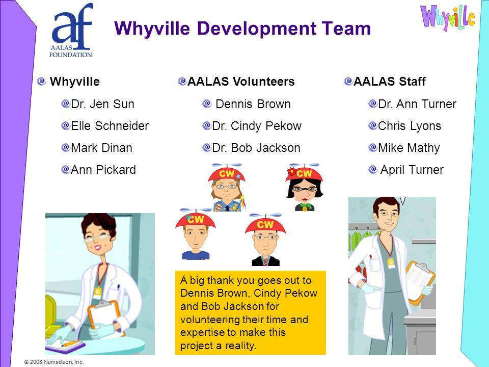 © 2008 Numedeon, Inc. Whyville Development Team Whyville Dr.
