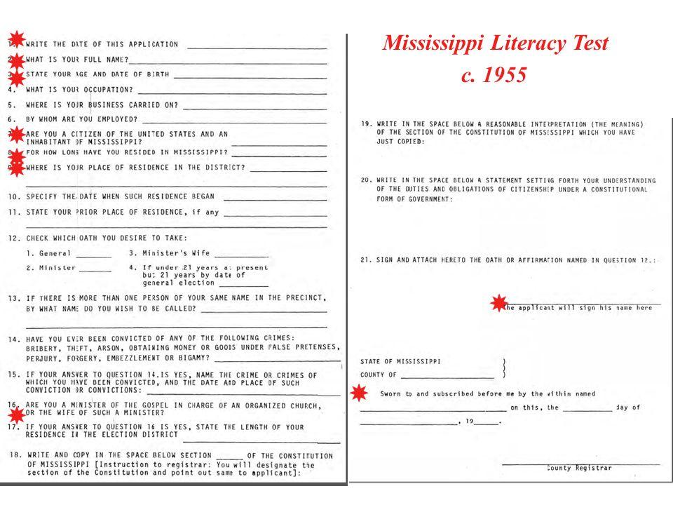 Mississippi Literacy Test c. 1955