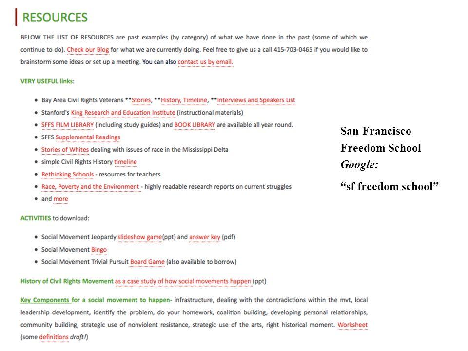 San Francisco Freedom School Google: sf freedom school
