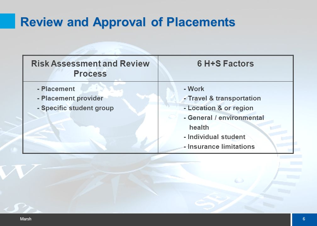6 Marsh Review and Approval of Placements Risk Assessment and Review Process 6 H+S Factors - Placement - Placement provider - Specific student group - Work - Travel & transportation - Location & or region - General / environmental health - Individual student - Insurance limitations