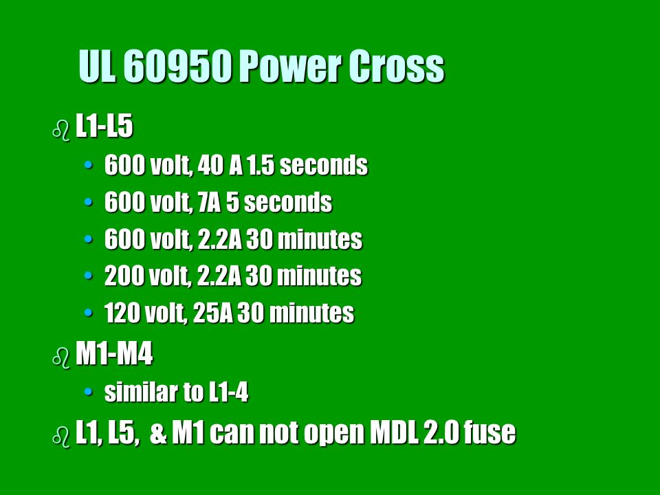 UL 60950 Power Cross b L1-L5 600 volt, 40 A 1.5 seconds600 volt, 40 A 1.5 seconds 600 volt, 7A 5 seconds600 volt, 7A 5 seconds 600 volt, 2.2A 30 minut