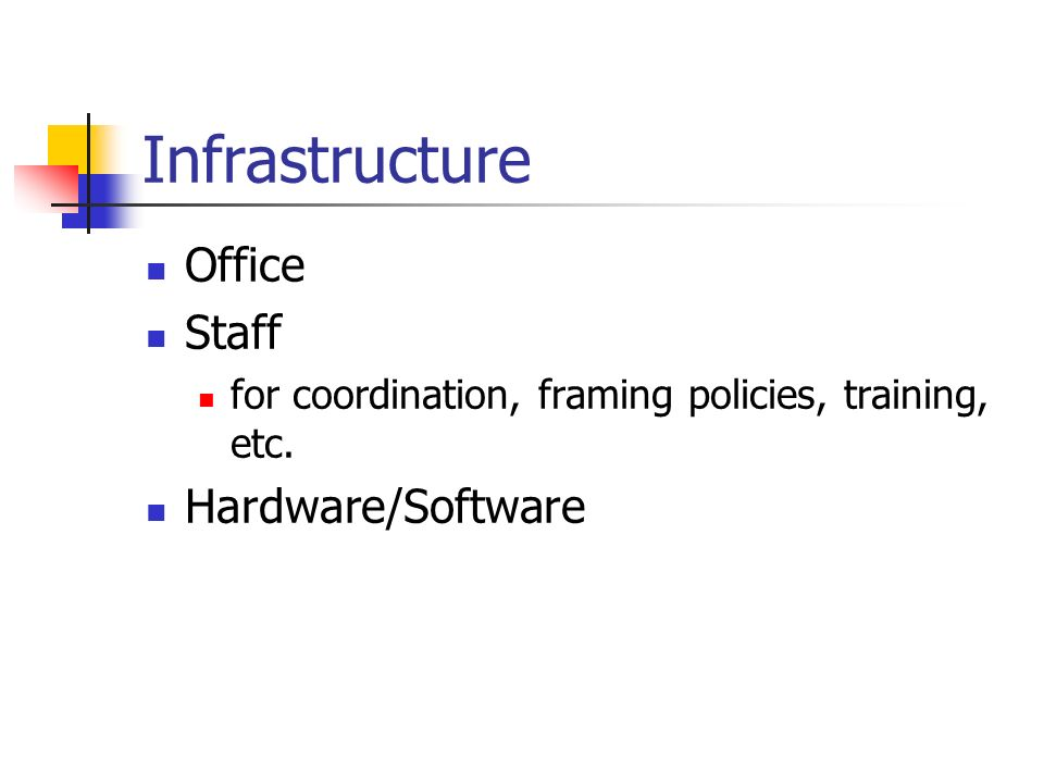 Infrastructure Office Staff for coordination, framing policies, training, etc. Hardware/Software