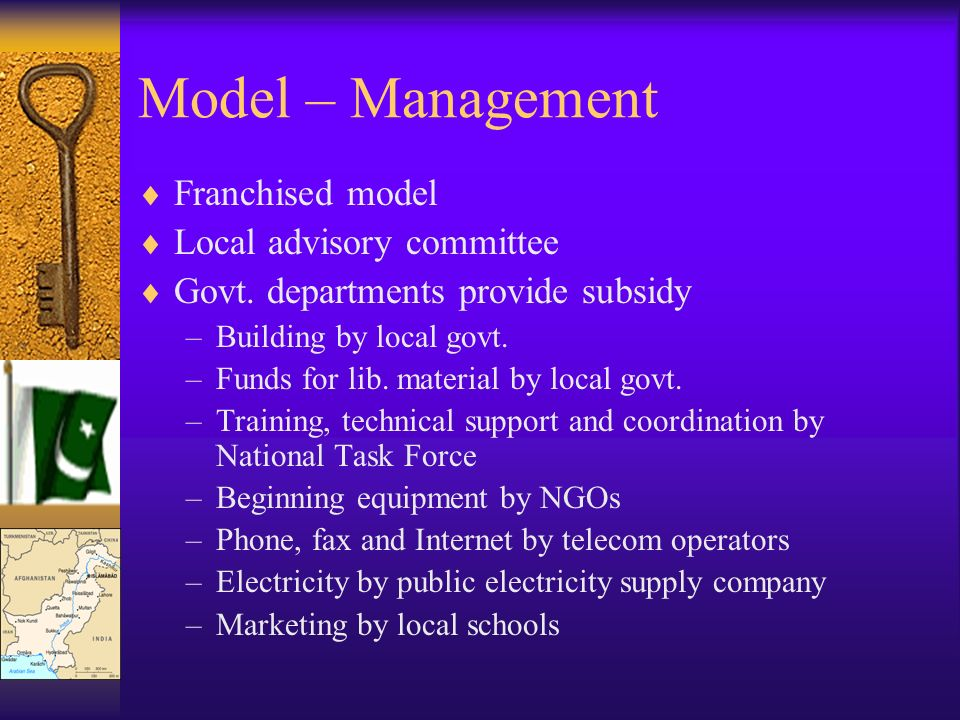 Model – Management Franchised model Local advisory committee Govt. departments provide subsidy –Building by local govt. –Funds for lib. material by lo
