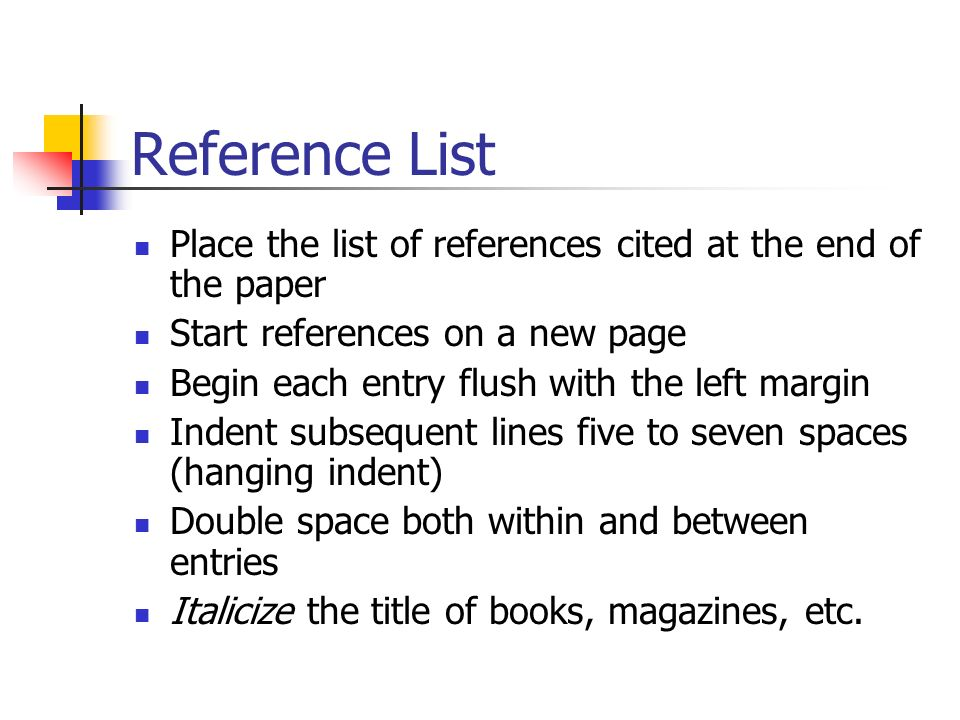 Reference List Place the list of references cited at the end of the paper Start references on a new page Begin each entry flush with the left margin Indent subsequent lines five to seven spaces (hanging indent) Double space both within and between entries Italicize the title of books, magazines, etc.