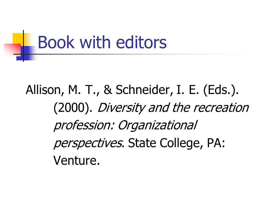 Book with editors Allison, M.T., & Schneider, I. E.