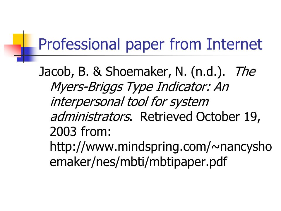 Professional paper from Internet Jacob, B.& Shoemaker, N.