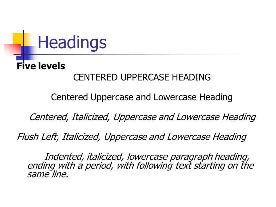 Headings Five levels CENTERED UPPERCASE HEADING Centered Uppercase and Lowercase Heading Centered, Italicized, Uppercase and Lowercase Heading Flush Left, Italicized, Uppercase and Lowercase Heading Indented, italicized, lowercase paragraph heading, ending with a period, with following text starting on the same line.