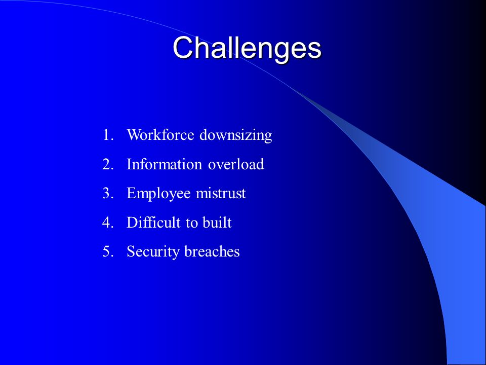 Challenges 1.Workforce downsizing 2.Information overload 3.Employee mistrust 4.Difficult to built 5.Security breaches