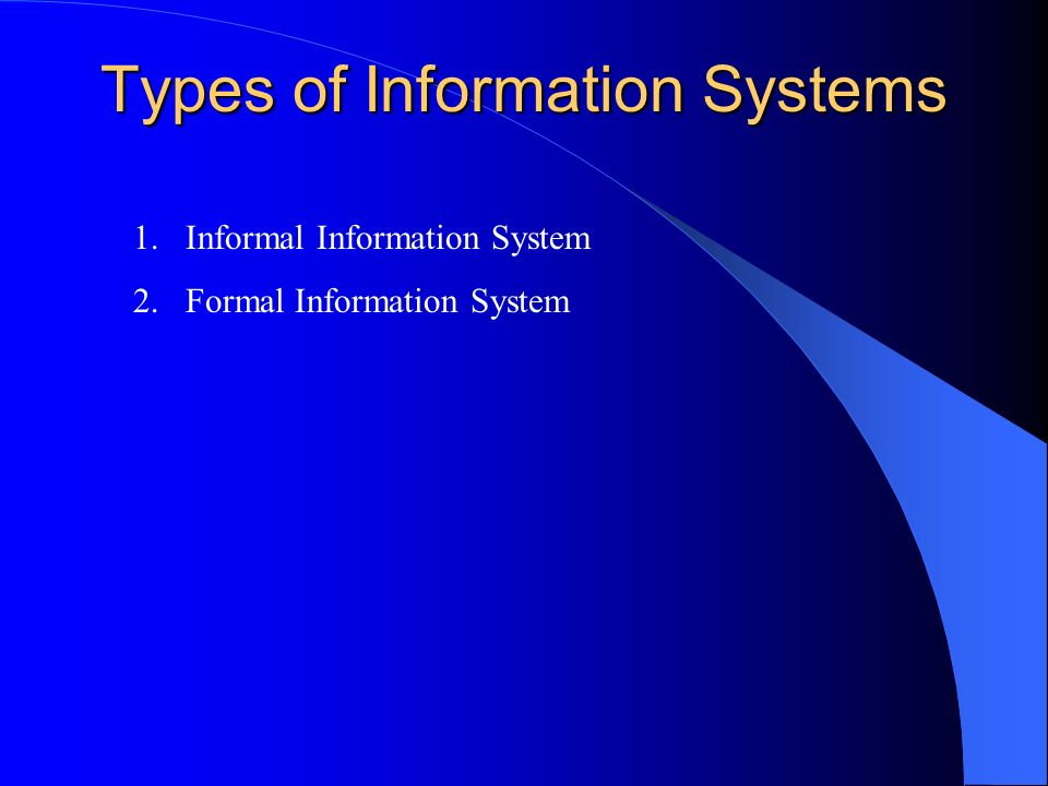 Types of Information Systems 1.Informal Information System 2.Formal Information System