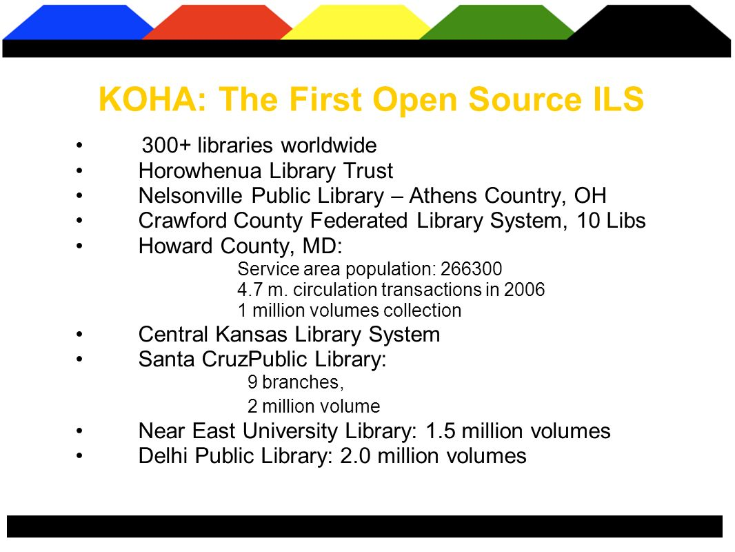 300+ libraries worldwide Horowhenua Library Trust Nelsonville Public Library – Athens Country, OH Crawford County Federated Library System, 10 Libs Howard County, MD: Service area population: 266300 4.7 m.