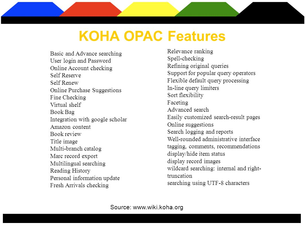 KOHA OPAC Features Source: www.wiki.koha.org Relevance ranking Spell-checking Refining original queries Support for popular query operators Flexible default query processing In-line query limiters Sort flexibility Faceting Advanced search Easily customized search-result pages Online suggestions Search logging and reports Well-rounded administrative interface tagging, comments, recommendations display/hide item status display record images wildcard searching: internal and right- truncation searching using UTF-8 characters Basic and Advance searching User login and Password Online Account checking Self Reserve Self Renew Online Purchase Suggestions Fine Checking Virtual shelf Book Bag Integration with google scholar Amazon content Book review Title image Multi-branch catalog Marc record export Multilingual searching Reading History Personal information update Fresh Arrivals checking