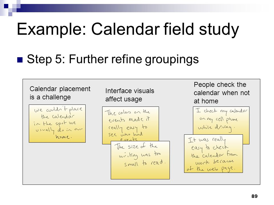 Example: Calendar field study Step 5: Further refine groupings Calendar placement is a challenge Interface visuals affect usage People check the calen