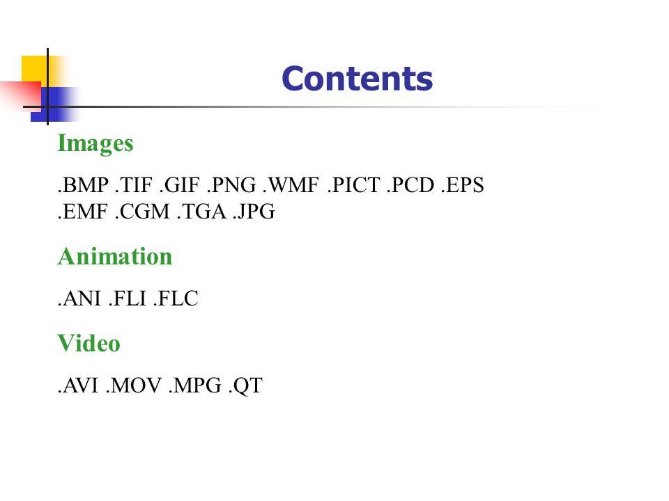 Contents Images.BMP.TIF.GIF.PNG.WMF.PICT.PCD.EPS.EMF.CGM.TGA.JPG Animation.ANI.FLI.FLC Video.AVI.MOV.MPG.QT