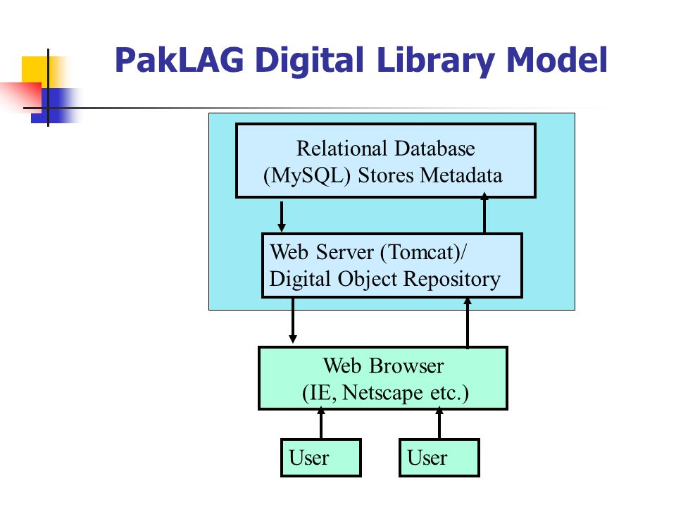 PakLAG Digital Library Model Relational Database (MySQL) Stores Metadata Web Browser (IE, Netscape etc.) Web Server (Tomcat)/ Digital Object Repositor