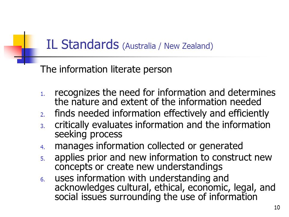 10 IL Standards (Australia / New Zealand) The information literate person 1. recognizes the need for information and determines the nature and extent