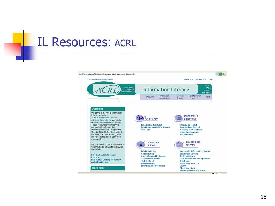 15 IL Resources: ACRL