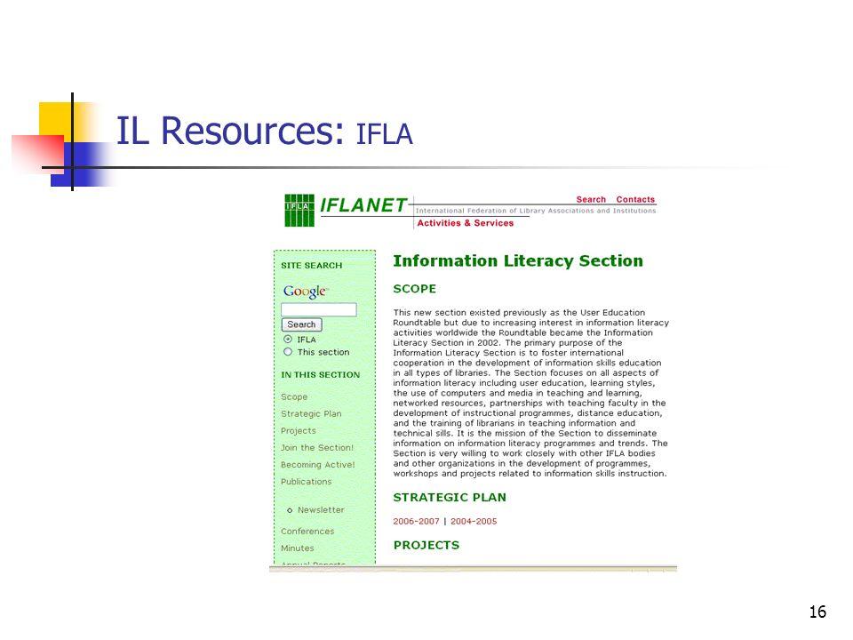 16 IL Resources: IFLA