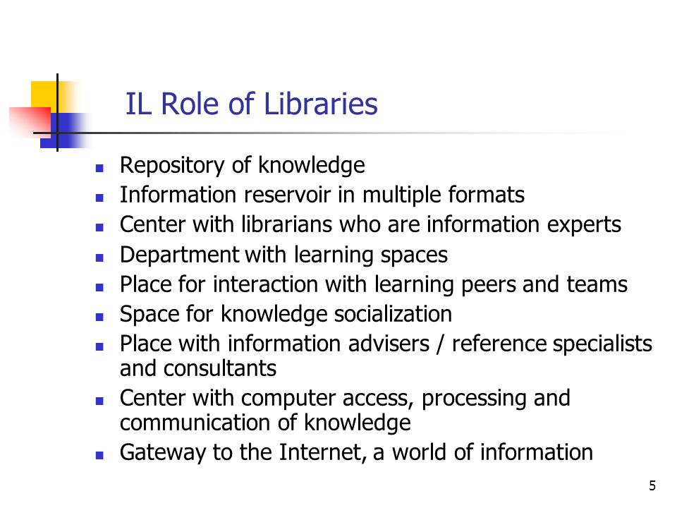 5 IL Role of Libraries Repository of knowledge Information reservoir in multiple formats Center with librarians who are information experts Department