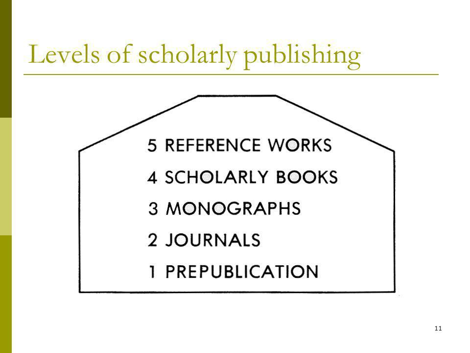 11 Levels of scholarly publishing