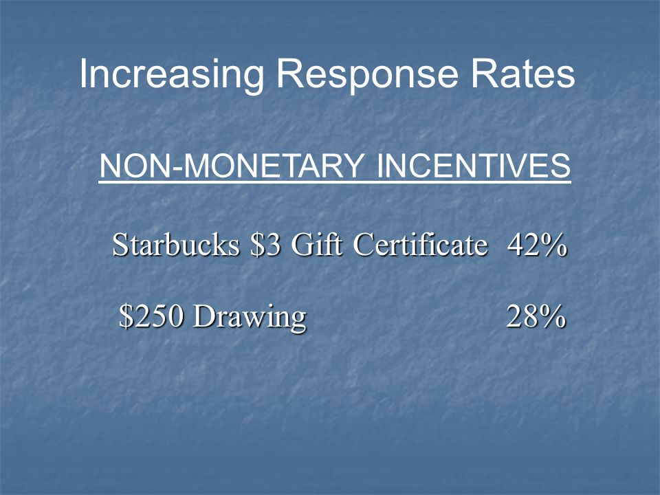 Increasing Response Rates NON-MONETARY INCENTIVES Starbucks $3 Gift Certificate42% $250 Drawing 28%