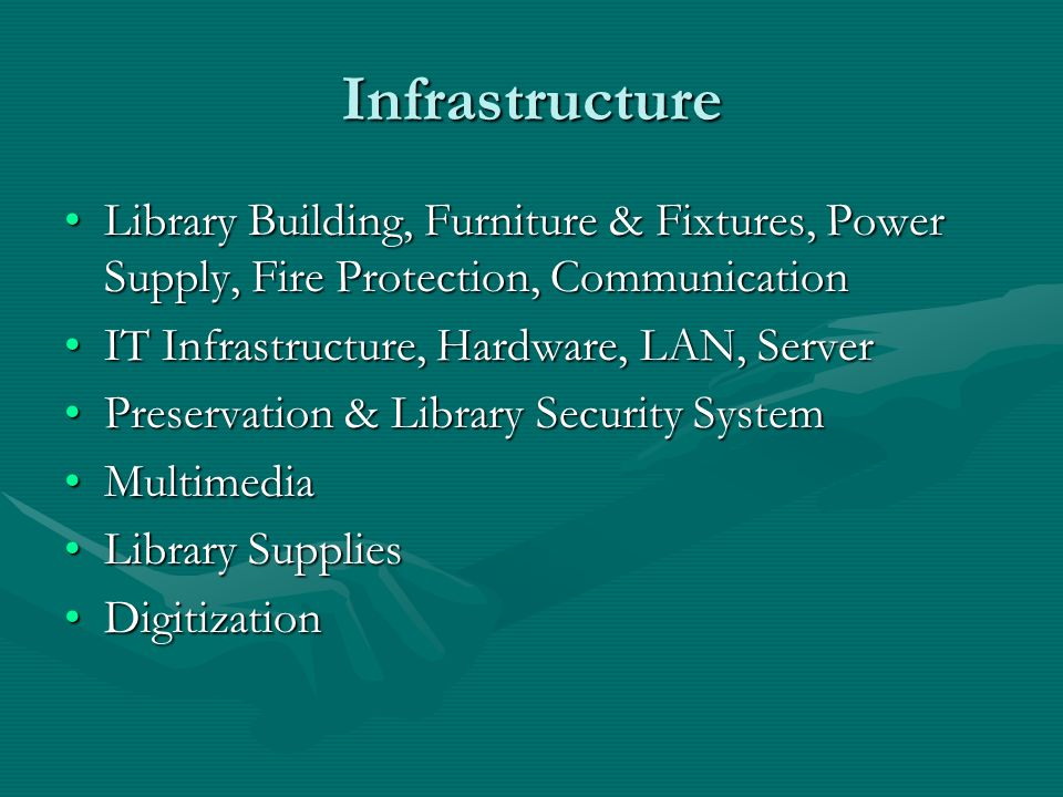 Infrastructure Library Building, Furniture & Fixtures, Power Supply, Fire Protection, CommunicationLibrary Building, Furniture & Fixtures, Power Suppl