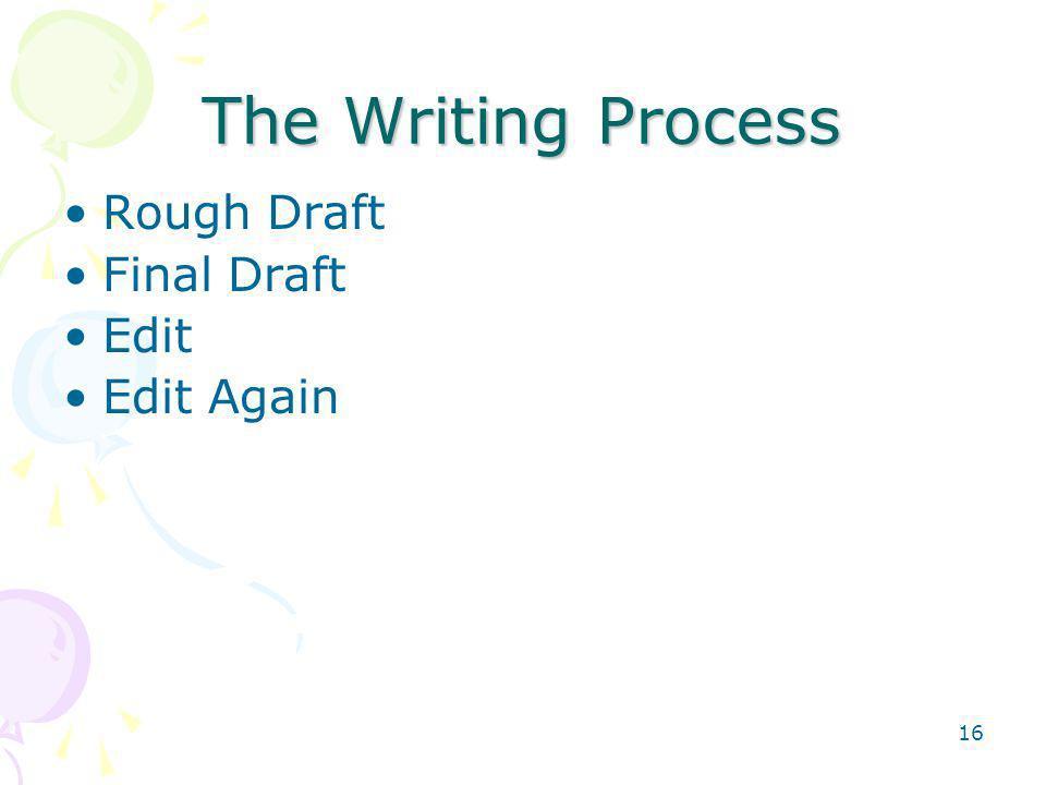 16 The Writing Process Rough Draft Final Draft Edit Edit Again