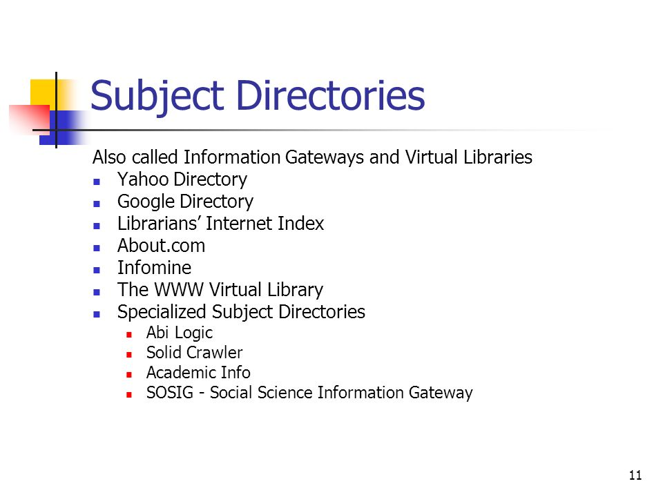 11 Subject Directories Also called Information Gateways and Virtual Libraries Yahoo Directory Google Directory Librarians Internet Index About.com Inf