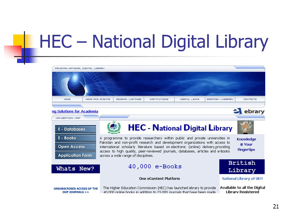 21 HEC – National Digital Library