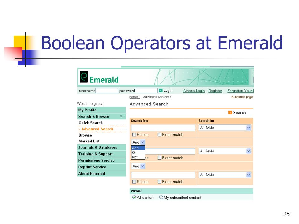 25 Boolean Operators at Emerald