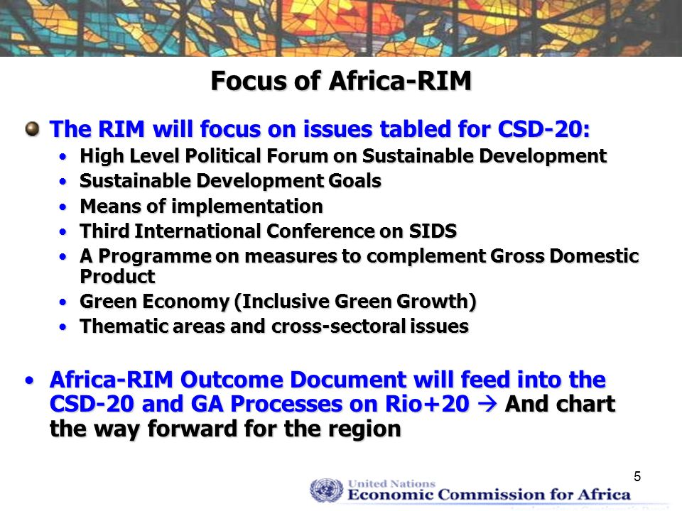 6 Proposed role of ECA… On the High Level Political Forum: Lead regional consultative process, with AUC and AfDBLead regional consultative process, with AUC and AfDB Follow a principle of subsidiarity – RCs and RIMsFollow a principle of subsidiarity – RCs and RIMs Promot a balanced integration of sustainable development dimensionsPromot a balanced integration of sustainable development dimensions On Sustainable Development Goals Build on the Post-2015 Development Agenda consultations in Africa, spearhead by ECA jointly with AUC, AfDB, and UNDPBuild on the Post-2015 Development Agenda consultations in Africa, spearhead by ECA jointly with AUC, AfDB, and UNDP Promote the convergence of the two processes – efficiency, effectivenessPromote the convergence of the two processes – efficiency, effectiveness Sustainable Development Report on Africa as regional chapter of the proposed Global Sustainable Development ReportSustainable Development Report on Africa as regional chapter of the proposed Global Sustainable Development Report