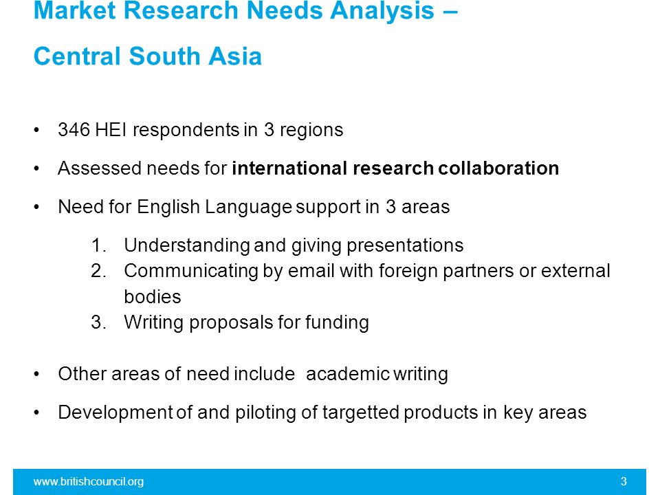Market Research Needs Analysis – Central South Asia 346 HEI respondents in 3 regions Assessed needs for international research collaboration Need for