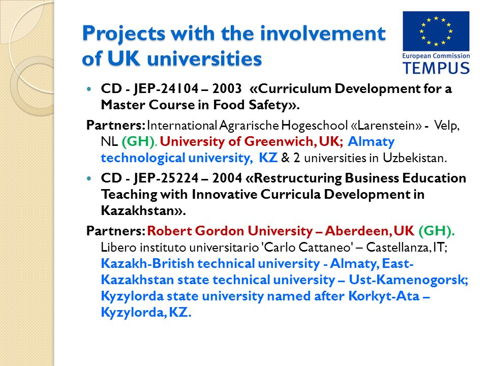 Projects with the involvement of UK universities